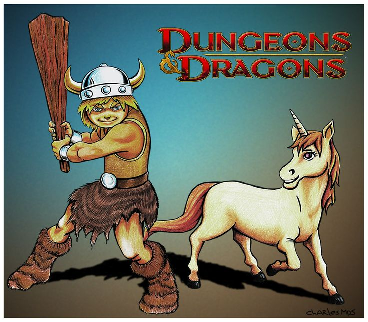 Bobby, the barbarian and Unicorn Uni - Animated serie Dungeons and dragons or in Brazil Caverna do Dragão - By Charles Mos