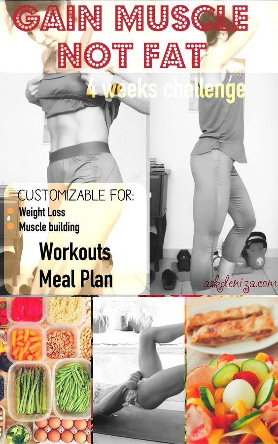Join the challenge! 4 weeks of workouts and nutrition plans to help you build muscle without gaining fat. All of this for free! -fitness -workout -glutes http://fitwithdeniza.com/build-muscle-not-fat/