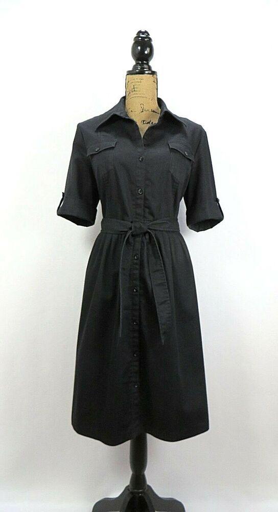 DenimDress Willi Smith Women s Shirt Dress 14 Black Denim Pockets Elbow  Tab Sleeves Tie - 937f79691