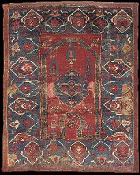 "OTTOMAN CARPETS IN THE XVI - XVII CENTURIES (16-17TH CENTURIES)  ""Bellini"" Keyhole Re-Entrant carpet, 16th century"