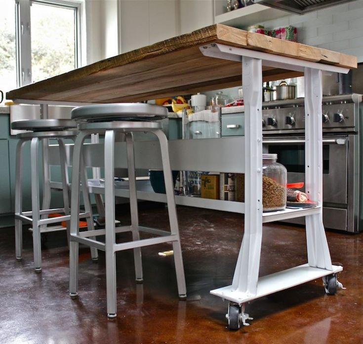 Narrow Kitchen Island On Wheels Pinteres