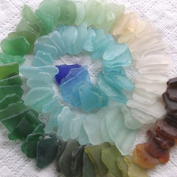 54 Natural Sea Glass Shards Imperfections Art by TidelineDesigns