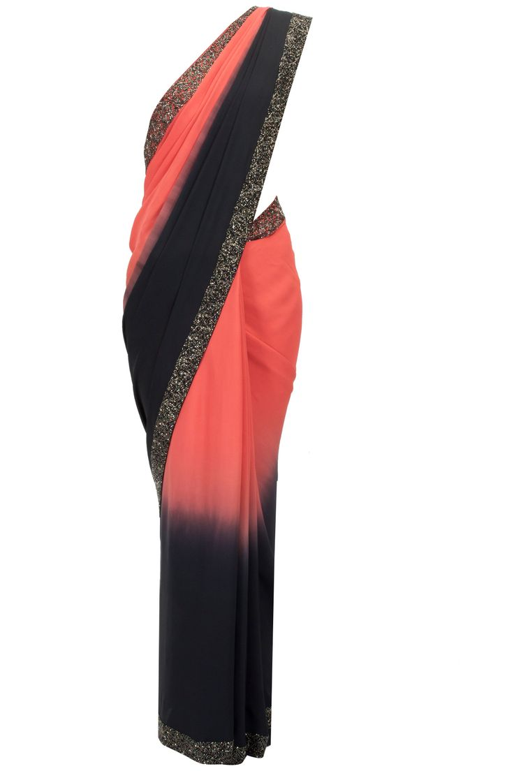 Red and black ombre sari with embroidered blouse available only at Pernia's Pop-Up Shop.