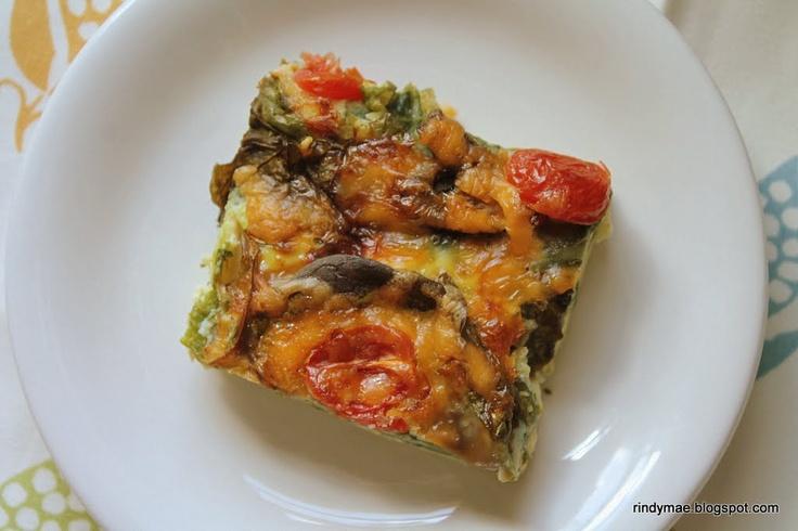 Spinach, Mushroom, and Tomato Frittata   Recipes   Pinterest