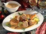 Putenröllchen mit Bündnerfleisch und Zucchini Rezept