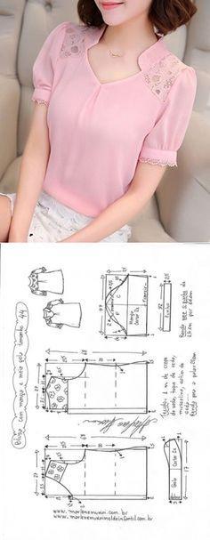 Blusa manga fofa e meia gola | DIY - molde, corte e costura - Marlene Mukai