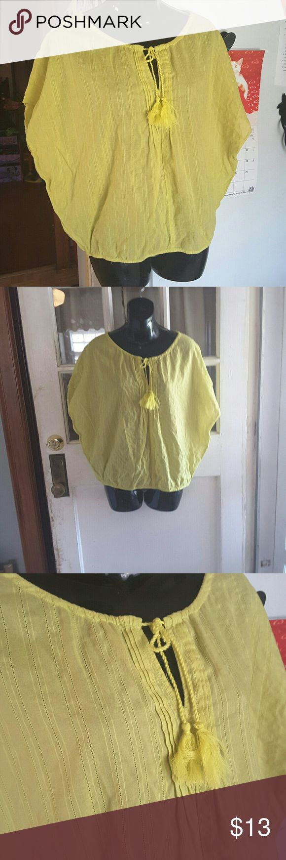 Loft Almost Neon green batwing top very lite flowy  vertical strippes see picture #4 key hole neck with tassels grate for the beach LOFT Tops
