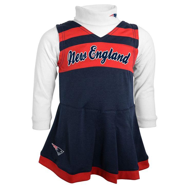 New England Patriots Infant Girls Jumper Turtleneck Cheer Dress - Navy Blue/White