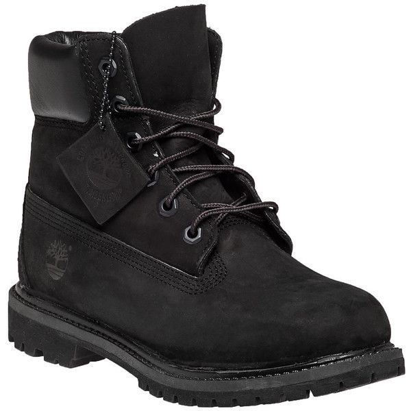 TIMBERLAND Premium 6 Inch Black Nubuck (€140) ❤ liked on Polyvore featuring shoes, boots, black, timberland, black nubuck, timberland shoes, black boots, nubuck boots, rubber sole boots and laced boots