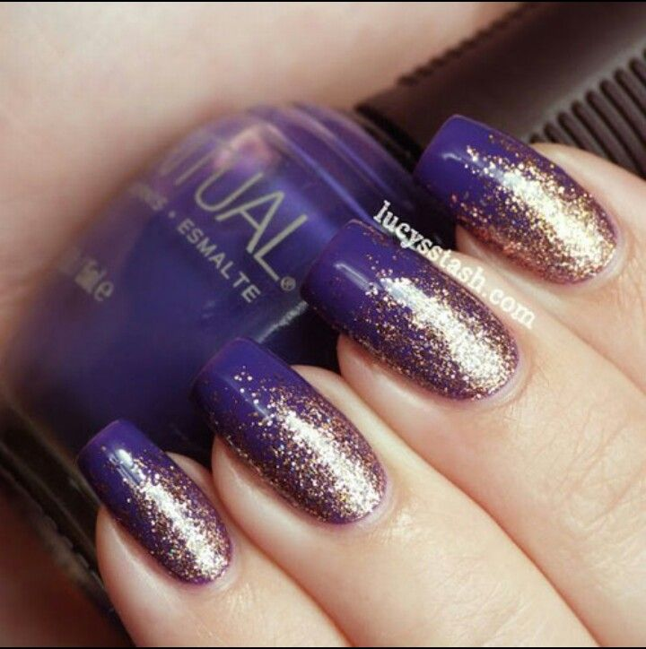 purple and gold ombre nails