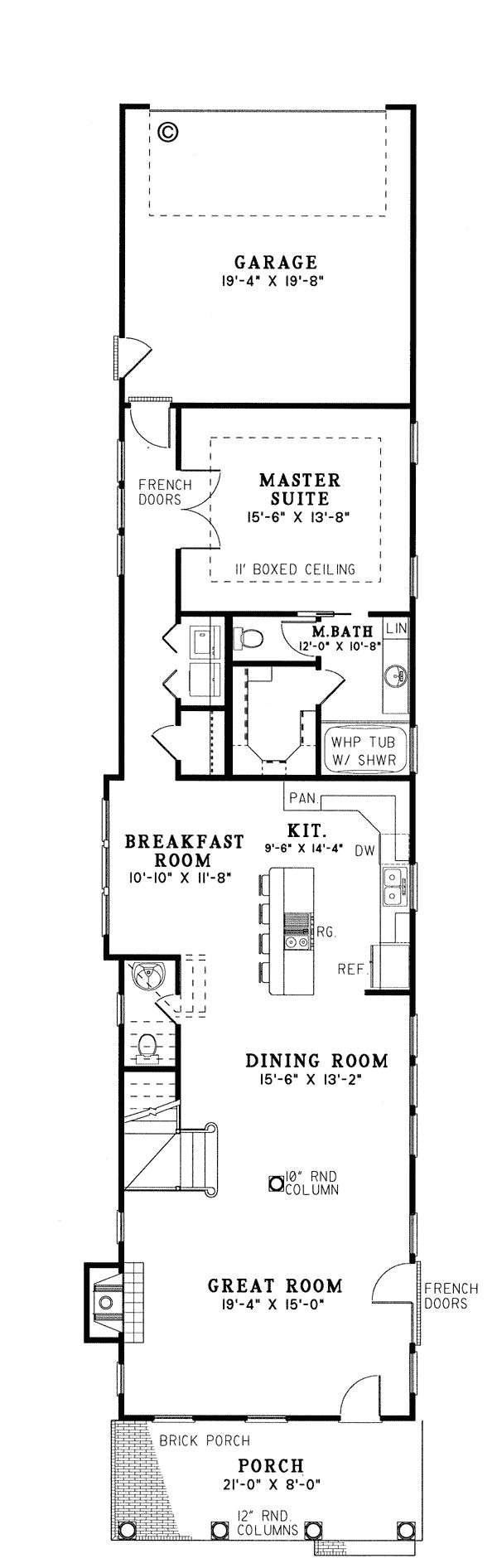 First floor plan of colonial narrow lot southern vacation for Long and narrow house plans