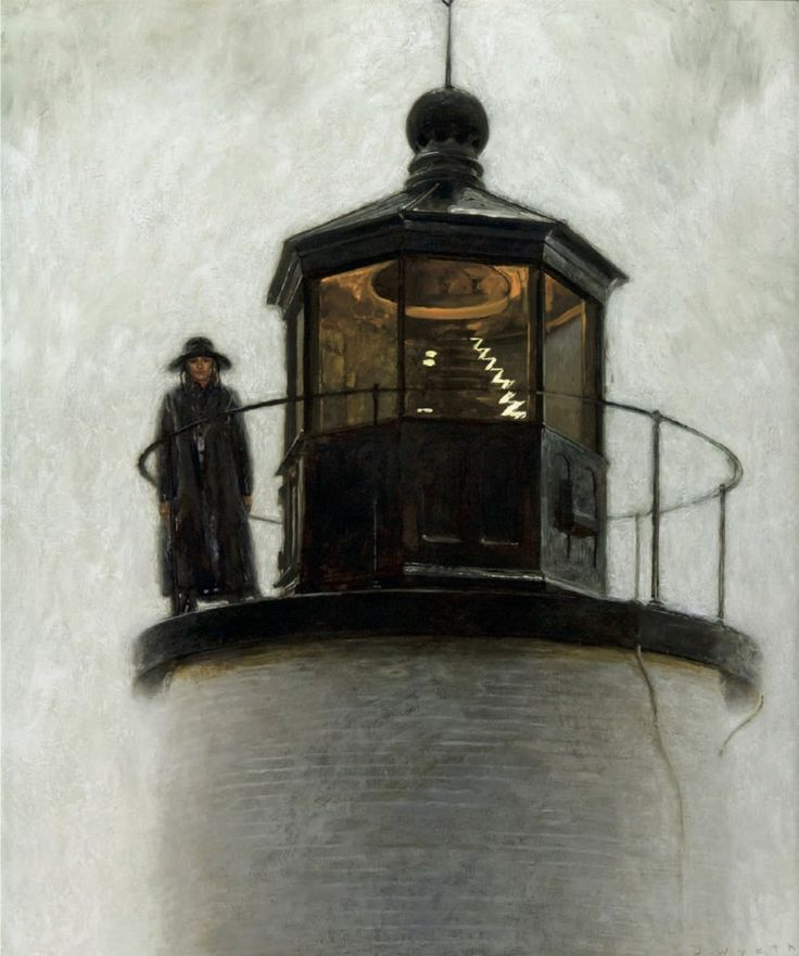 Jamie Wyeth Light Station, Enamel and Oil on Panel, 36x30""
