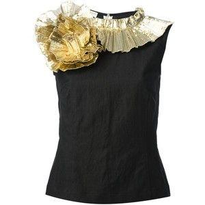 Dries Van Noten Gold Ruffle Swirl Cotton Top