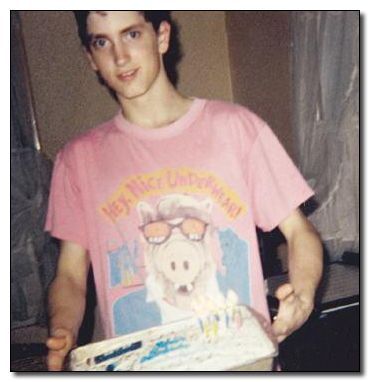 "definitely my all-time favorite - Eminem on his birthday holding a cake and wearing a pink T-shirt depicting Alf wearing X-ray glasses saying, ""Hey, nice underwear!"""