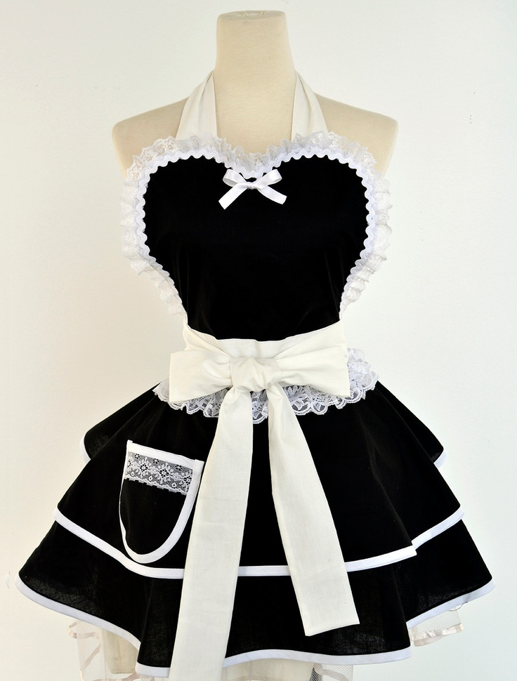 Made to Order-French Maid Costume Apron. $62.00, via Etsy.