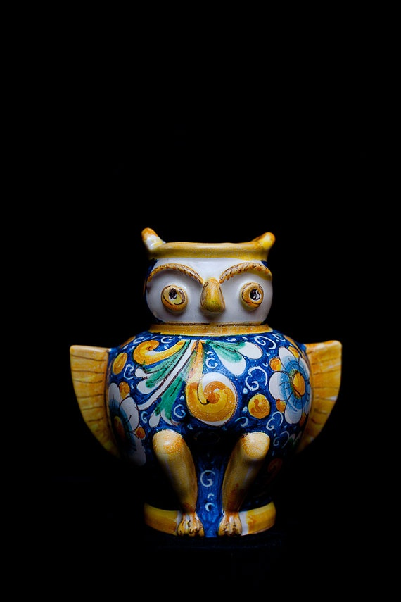 Italian ceramics Owl Vase  Pottery with passion by TouchOfSicily