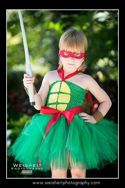 TURTLE POWER Teenage Mutant Ninja Turtle Inspired Tutu Dress with Turtle Shell, Wrist Cuffs and Mask -Large 4-6T