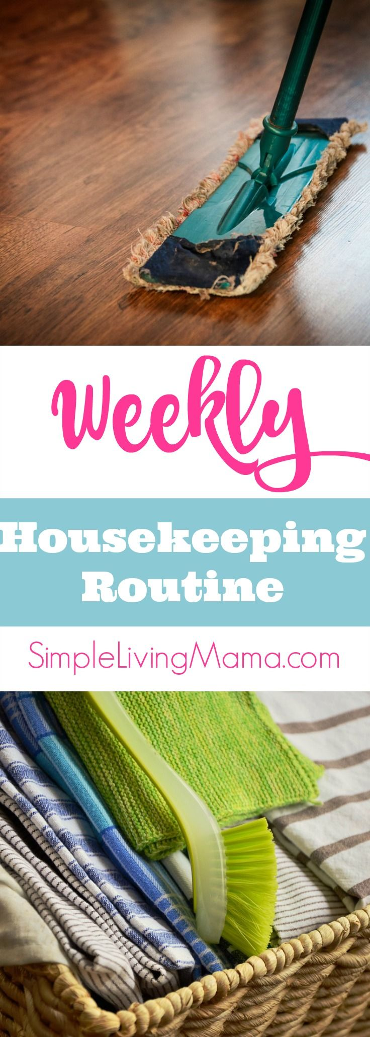 Are you struggling with keeping your house clean? A weekly housekeeping routine will help you keep your home in good shape with a little bit of effort each day!