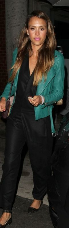 Who made Jessica Alba's green leather jacket, black pants, and collar wrap top that she wore in Beverly Hills?