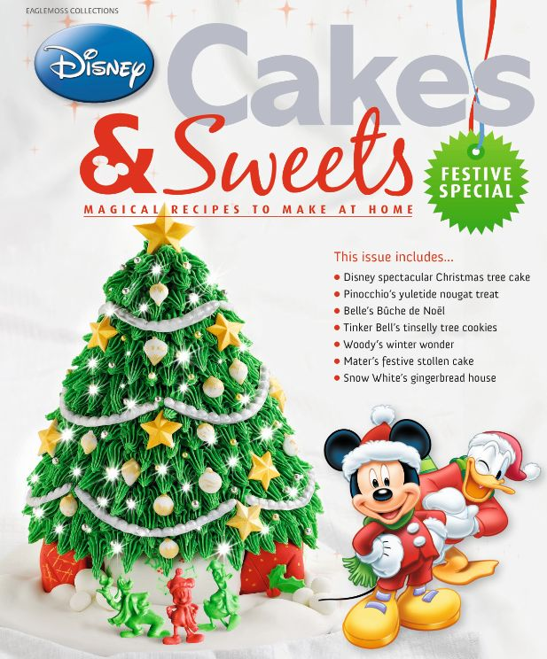This Festive issue will warm you to your very core with Christmas magic. You'll make this fantastic Christmas Tree cake with the free cake mould. You'll also get further Mickey and friends moulds for cake decorating plus a 28 page magazine filled with Christmas recipe. #disneycakesandsweets