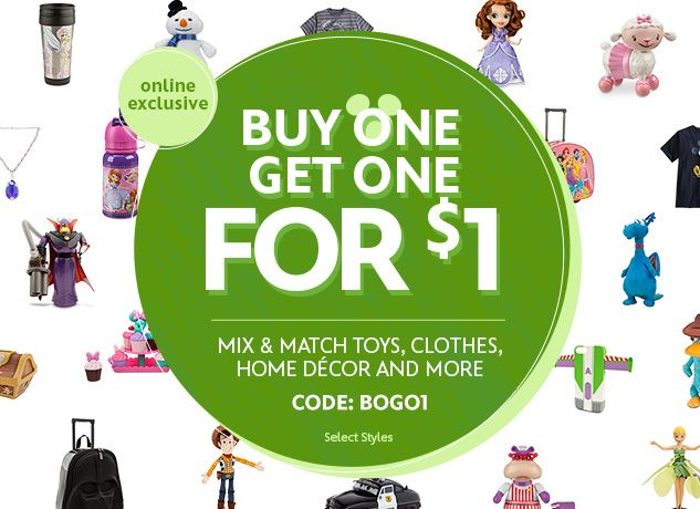 Buy 1 Get 1 for $1 Sitewide at DisneyStore.com http://bc2.me/184d9 ends 8/25/14