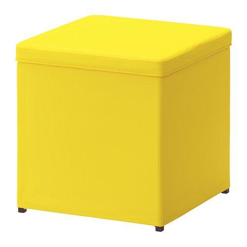 IKEA - BOSNÄS, Hocker mit Aufbewahrung, Ransta gelb, , Leicht sauber zu halten - der abnehmbare Bezug kann in der Maschine gewaschen werden.Kann als zusätzliche Sitzgelegenheit oder als Fußhocker benutzt werden.Aufbewahrung unter dem Sitz.