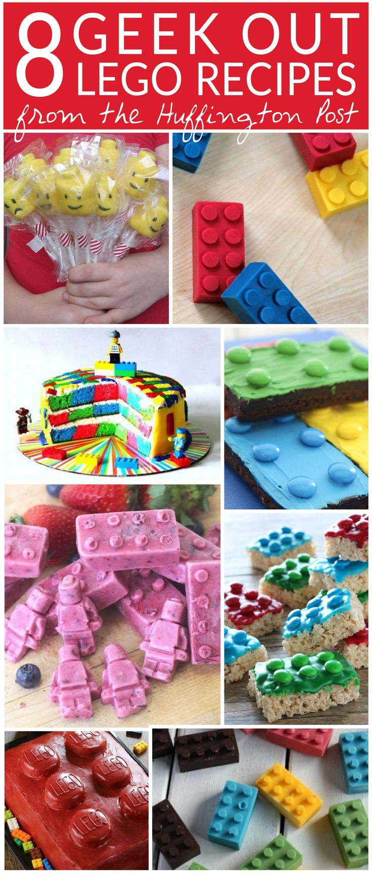 Lego treats are a great way to liven up a kid's party or make snack time special. Get your geek on with brownies, cakes, marshmallow pops, frozen yogurt bites, cake pops, chocolates, and other tasty treats baked and shaped into beloved Lego blocks. Easy birthday party treats. Lego birthday party. Lego party ideas.