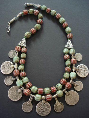 Nepalese Chevron Bead & Moroccan Silver Coin Necklace