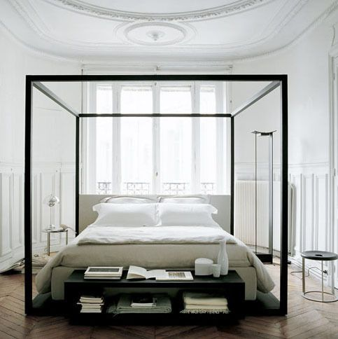 Love the black frame in a white room.. it really looks like a room within a room