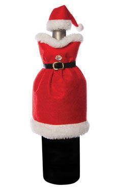 Mrs. Claus Wine Bottle Bag Santa Dress Christmas Hostess Gift Decor Hat Topper