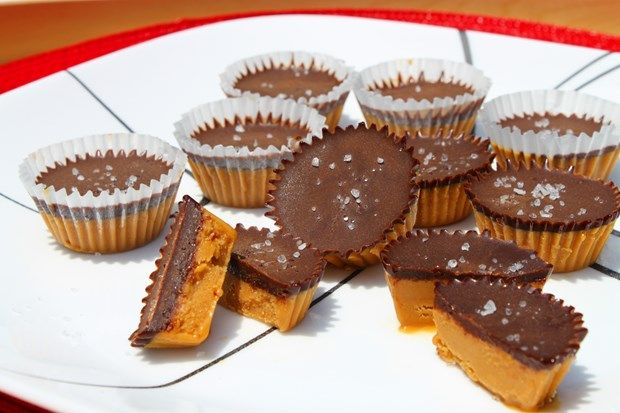 Salted Chocolate Peanut-Butter Cups #justeatrealfood #practicallyorganicgirl Use nut butter OR sunflower seed butter instead of PB