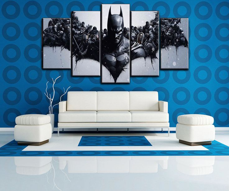 Large Framed 5 Panels Batman Painting Printed Movie Canvas Wall Art Home Decor #Unbranded #ArtDeco