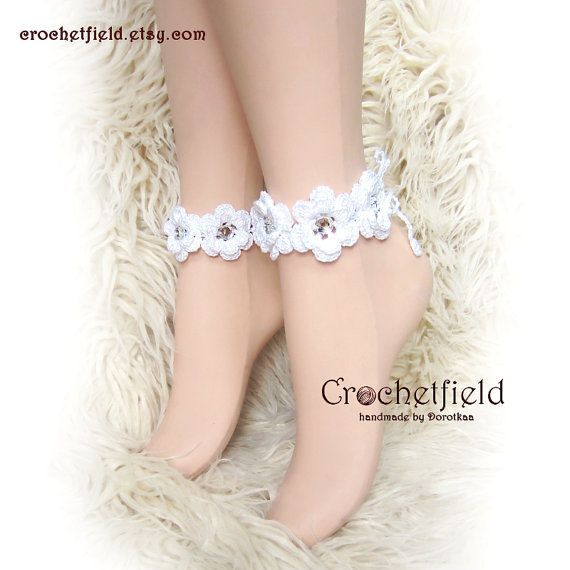 Pair of Crochet RHINESTONE flowers Anklet barefoot by Crochetfield