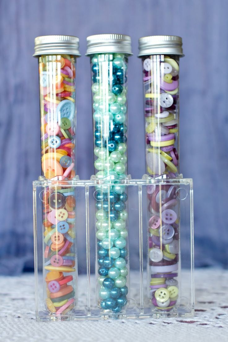 Test tubes can make excellent storage for small beads and buttons.