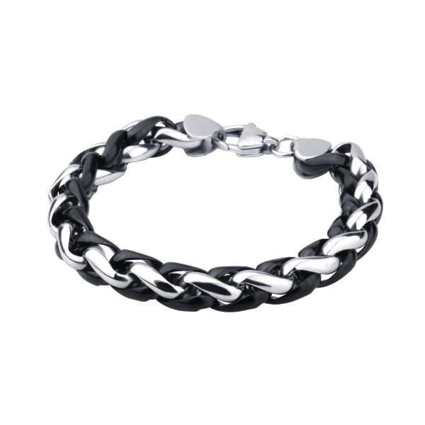 Two tone Rope Bracelet with Polished Stainless Steel and Black Steel Links http://lily316.com.au/shop/bracelets-mens-stainless-steel/large-polished-steel-and-black-ip-rope-bracelet/