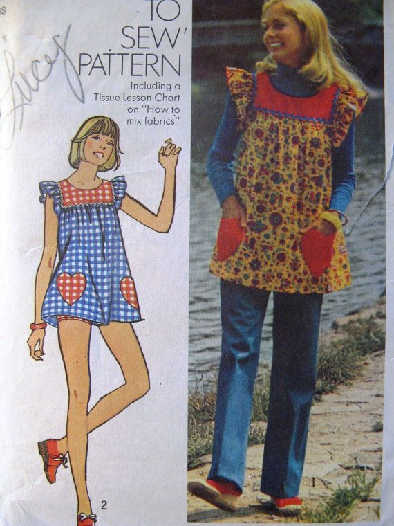 OMG - a smock top pattern from the '70's.  Just like the one's my mom used to make me for school!