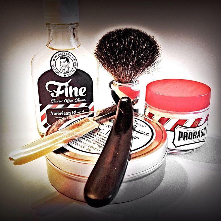 "SOTD 2015-06-28 Pre: Proraso — Crema Pre Barba — Olio di Sandalo e Burro di Karité. Brush: Omega # 6736— Barber Pole — Pure Badger. Lather: Lebelle Soaps — Tallow Shaving Soap — Tobac Vanille. Razor: Anonymous 6/8"" Near Wadge — Sheffield — Restoration and Horn Scale by Mastro Livi.  Strop: La Paciccella — Pigskin Chamois and Nappa Leather — by Paciccio. Post:Cold Water and Alum. As: Fine — Mr Fine's Splash — American Blend.  #ilrasoio #italiawetshaving #italianwetshavers #lebellesoaps…"