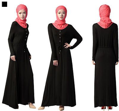 Muslim Abaya Kaftan Turkey Women Modal Black Long Sleeve Dress Maxi Amira Cloth