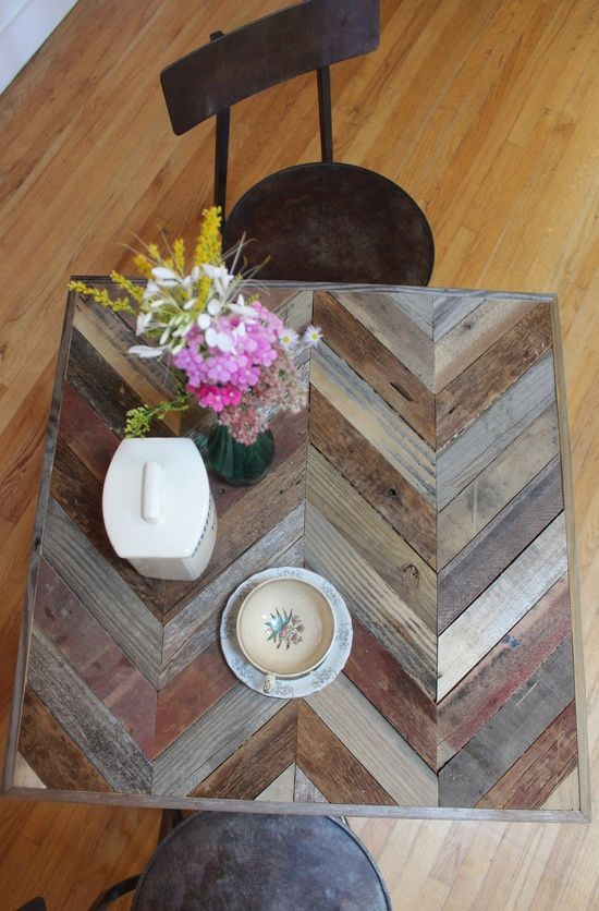 Chevron Reclaimed Pallet and Barn Wood Pub Bistro Kitchen End Table- Arrowhead  via Shopmine, get product recommendations based on people you follow!