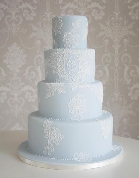 Coloured Wedding Cakes, Pale blue tiered wedding cake with beautiful iced detail