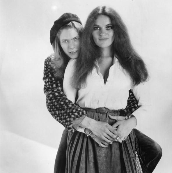 17th May 1971: English pop star David Bowie with singer Dana Gillespie. Photo: Michael Stroud/Express/Getty Images.