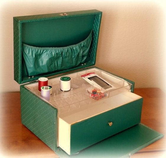 Marvelous er Jahre gesteppte N hen Box Fall Wald gr n Vinyl Kunststoff Organizer ausziehbare