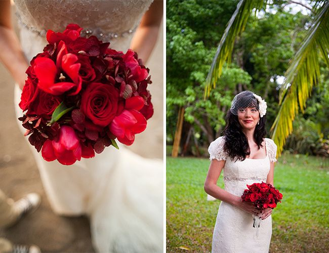 Real vs. Fake Wedding Flowers - Inspired By This-red bouquet