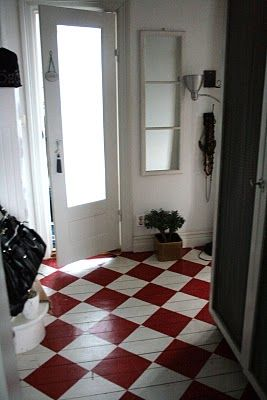 Wonderful painted floor in red and white parquet! Love!: Red And White, Mudroom, Idea, Painted Hardwood, Mud Room, Laundry Room, Painted Floors