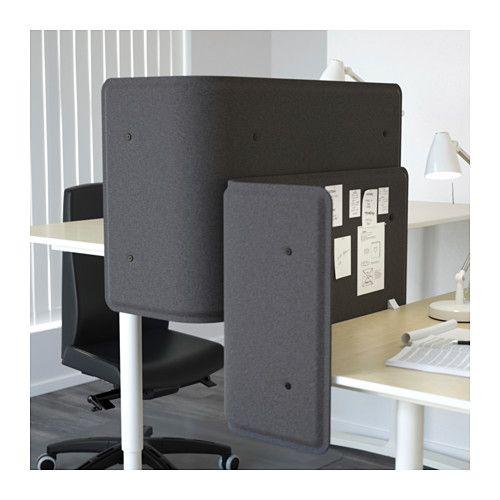 BEKANT Screen for desk, gray gray 21 5/8