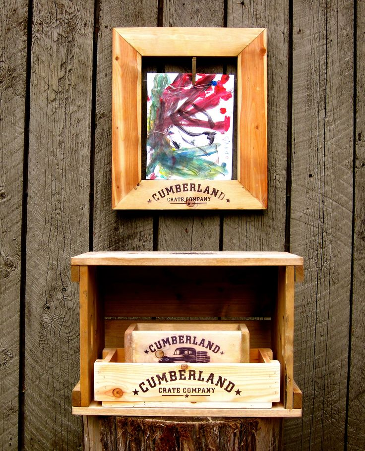 An array of our wooden crates and a Lil' Van Gogh-child art work display frame.