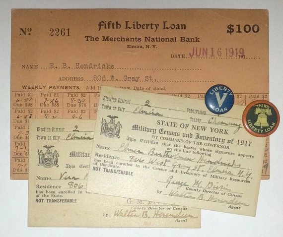 World War 1 Liberty Loan, Military Census and Pin Lot by OtterCreekAntiques, $19.95