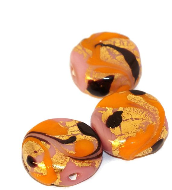 Solid Gold 24 karat Czech Glass Lampwork Beads Rondelle Round Tablet Shape Gold Black Pink Orange Original Exclusive Authentic 16mm
