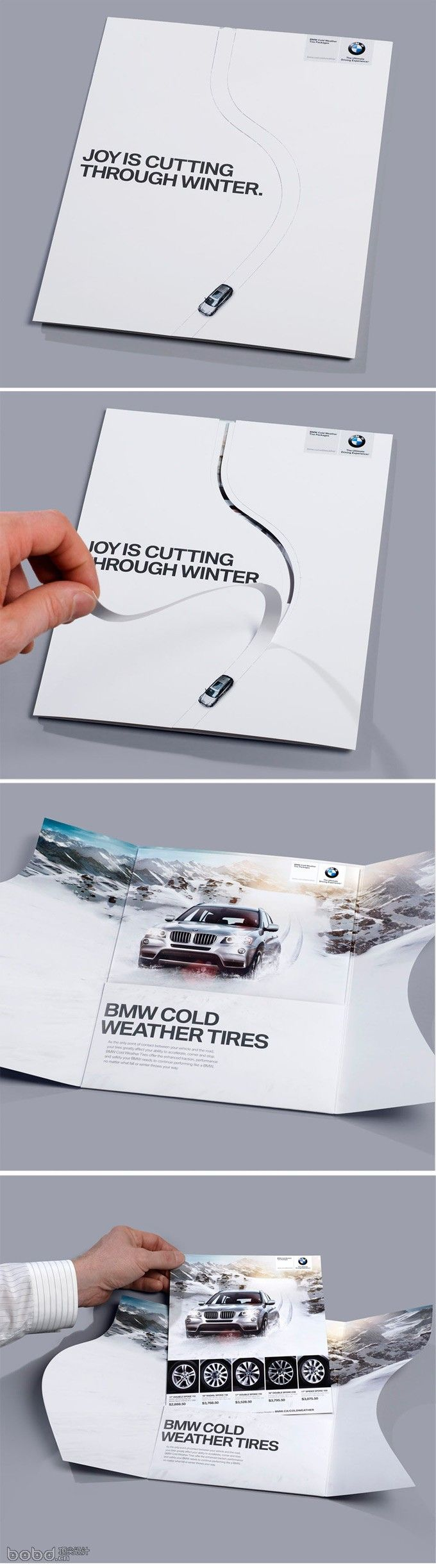 BMW. I like this packaging that BMW created. Although the inside layout is quite static and plain as their common layouts, the interactive cover intrigues the viewer to open the packager to see what's inside. The illustration used is very bold and eye-catching.