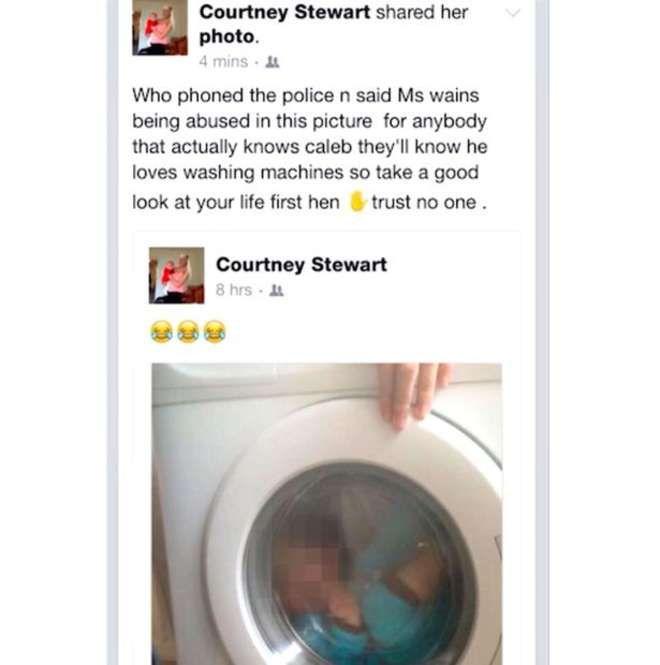 Pone figlio down in lavatrice e scatta foto